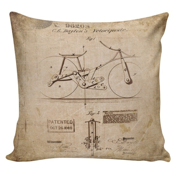 Items similar to Decorative Cotton Pillow Cover Cushion Old Velocipede Patent Restoration ...