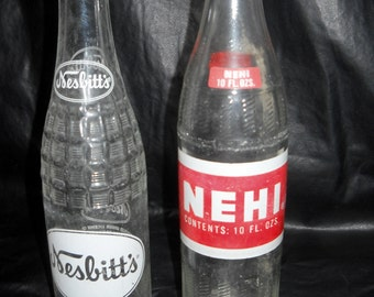 NEHI and Nesbitt's, Two Vintage Pop Bottles, Soda Bottles 1969 and 1970, 10 ounce