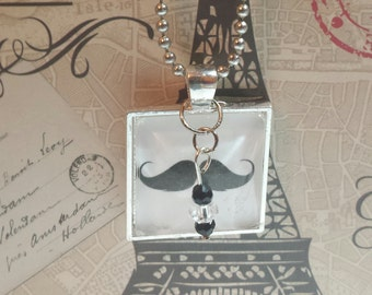 Handmade Mustache glass bead necklace with black and white dangle