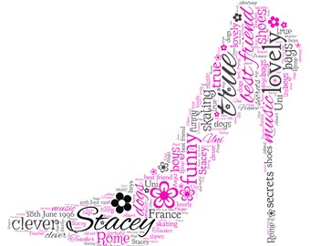 Personalised Word Art - A Ladies High Heel Shoe design -  A4 Print or Digital File