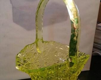 Vaseline Glass Basket