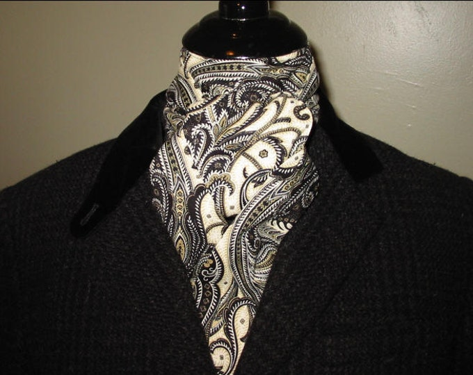 Black Brown Sage Paisley Stock Tie