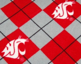 WSU Cougars Argyle Fleece Blanket - No Sew Tie Quilt