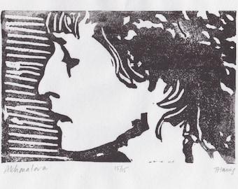 Anna Akhmatova linocut print on mulberry bark paper art gift poet