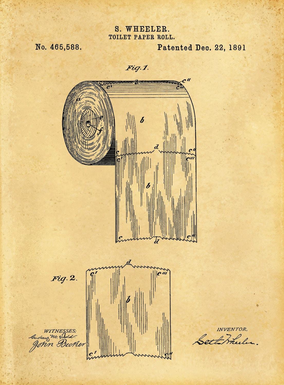 Patent 1891 Toilet Paper Roll Art Print Bathroom Art