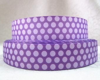 7/8 inch Light Purple Polka Dots on Purple - STYLE 402 - Printed Grosgrain Ribbon for Hair Bow