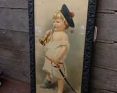 The Little Major Yard Long Print Litho Wood Frame Vintage 30.5 x 16