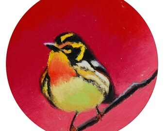 """Yellow and Black Bird. 5""""1/4 Diameter - Original Pastel on Paper Painting. Art, colorful, cute, gift idea, home, decoration, hot pink"""