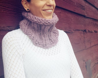 Knit neck warmer Womens snood, knit snood, Super bulky knit collar shown in winter lavender