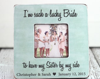 Sister Bridesmaid Maid of Honor Wedding Gift Personalized Picture Frame Rustic Country Beach Wedding