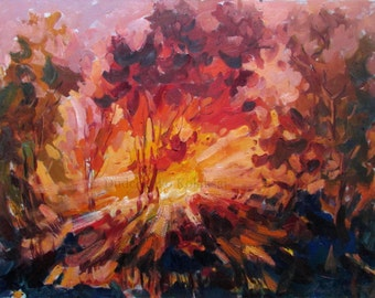 Oil painting, landscape. Dawn in the acacias.