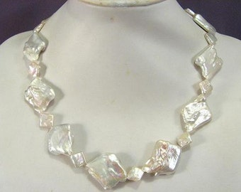 Necklace High Luster Biwa 25-32mm Huge Rhombus  NSBW5485