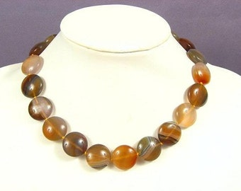 Necklace Botswana Agate 20mm Flat Round 925 NSAB5405