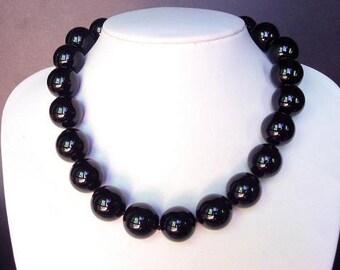 Necklace Black Onyx Huge 18mm Round Beads 925 NSNX0478