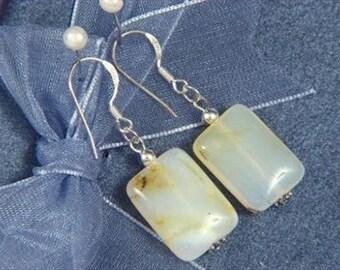 Earrings White Opal 17mm Pillows 925 ESOW1229