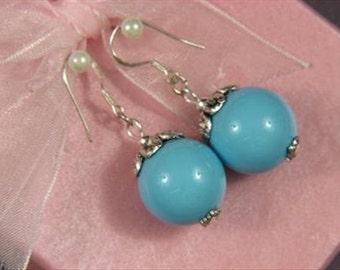 earrings Baby Blue Shell Pearls 16mm 925 w/ Caps EHSU0317