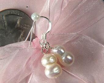 earrings FW White Pearls 9x13mm Twin 925 Dangle EHPW0172