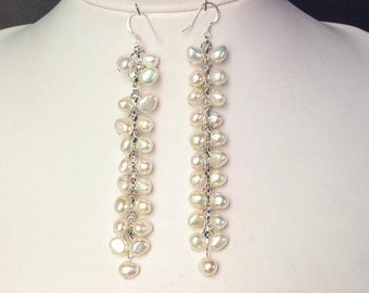 "Earrings Long 4"" Dangle FW White Pearls 925 EHPW0040"