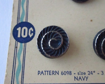 """3 Vintage Buttons, Costumakers 9/16"""" Navy Blue Plastic with Silver Swirl, on Original Card"""
