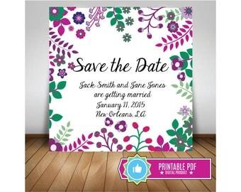 Purple Flower 5.5 x 5.5 Custom Save the Date Invitation