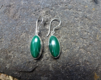 SALE!!!!!! 20% OFF! Malachite Sterling Silver .925 Earrings ~Entia~