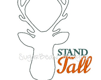 Stand Tall Deer Embroidery Design. Redwork Deer. Three Sizes Included. Machine Embroidery Design.