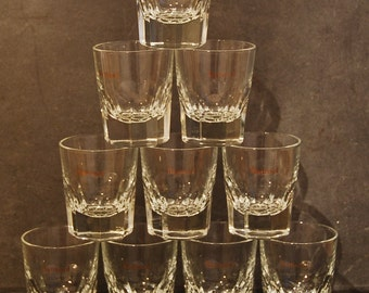 10 vintage French tumbler glasses, Bartissol brand. Set of chunky apéritif glasses, whisky, water or juice.