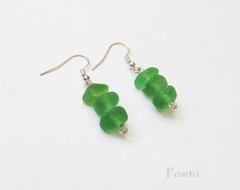 Sea glass earrings - green sea glass earrings from seaglass genuine beach glass earrings beach earrings cute earrings green earrings (SGE-5)
