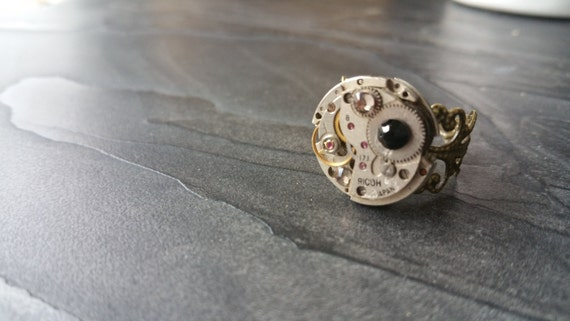 steunk ring steam jewelry movement ring