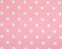 PINK POLKA DOT fabric,cotton fabric,dotted fabric,pale pink fabric,pastel pink,extra wide fabric,fabric by half yard,yard,euro fabric