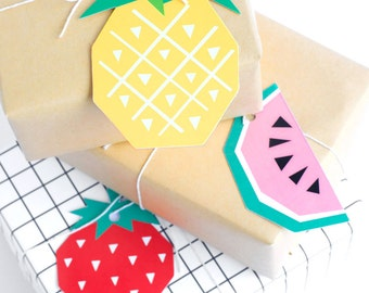 Mixed Geo Fruit Gift Tags