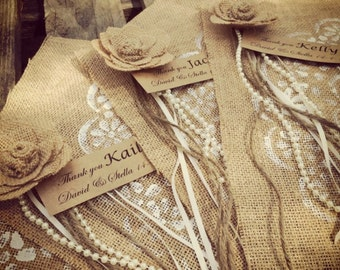 Hessian wedding placemats, for your guest gifts or seating plan. (Set of 10)