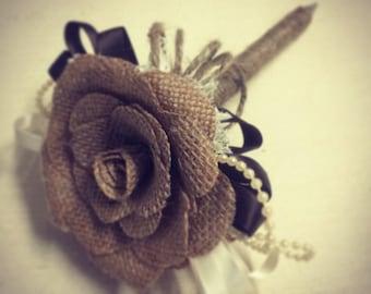 Handmade Rose burlap flower pen
