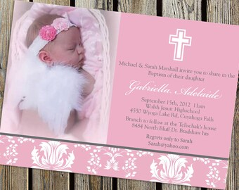 Elegant Baby Baptism Invitation DIGITAL PRINTABLE FILE