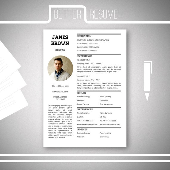 one page resume template cover letter word reference sample free 1 download