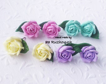 Stud earrings rose, Jewelry handmade, polymer clay