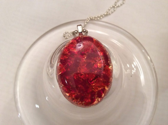 Dramatic Red Resin Pendant