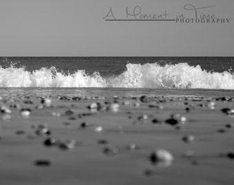 Myrtle Beach Photography, Black and White, Beach Wall Art, Ocean Decor, Nautical, Office, Coastal, Home, Sea Shell, Waves, Water, Print