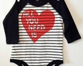 Valentine's Day handprinted 'All You Need is Love' 3-6 month onesie