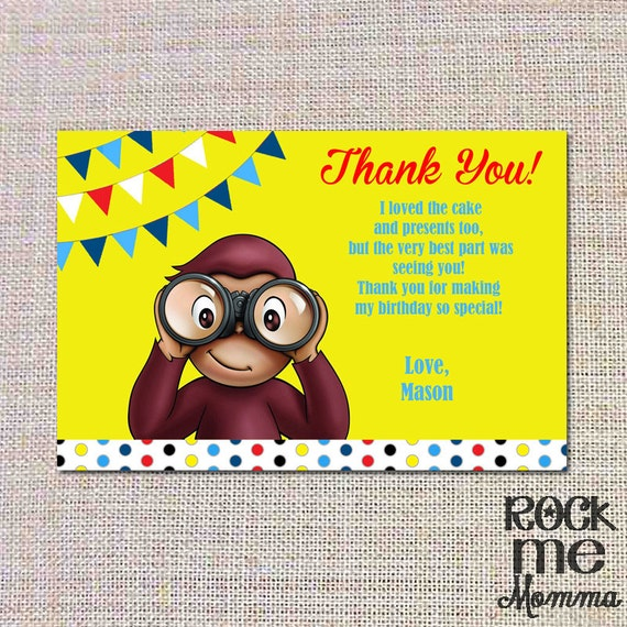 Astonishing Items Similar To Curious George Birthday Thank You Note Personalised Birthday Cards Veneteletsinfo