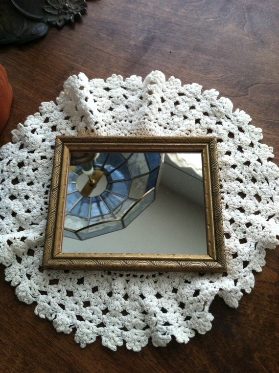 Small decrotive hanging wooden wall mirror by bluemudhouse for Small hanging mirror