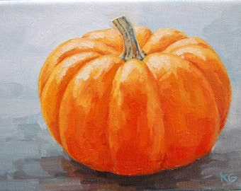 EXAMPLE ONLY: Orange Pumpkin,  Original 5x7 Oil Painting, Halloween, Handmade