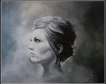 Custom Black and White Portrait Painting 16x20 (Example Only)