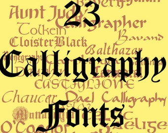 Calligraphy Font Pack - 23 Quality TrueType Fonts - For Personal or Commercial Use