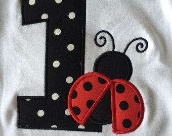 Personalized Lady Bug Birthday Shirt, Onesie, Dress, year, age 1st, 2nd, 3rd, 4th, 5th- Applique, Customized, Embroidered, Name