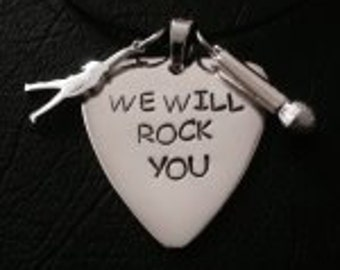 Freddie Mercury Queen Guitar Pick Pendant Necklace Set