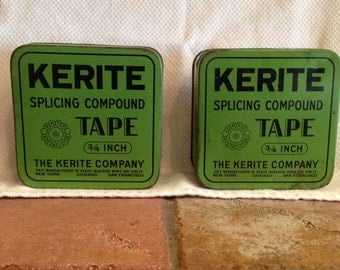 Two Vintage / Antique Tape Tins Containers in Green