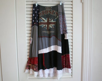 Boho Upcycled Skirt / Recycled Clothing - by Breathe-Again Clothing