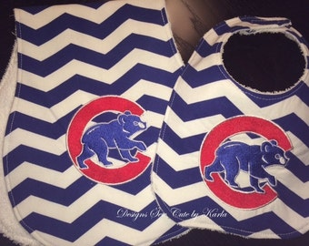 Chicago Cubs Inspired embroidered baby bib, burp cloth and taggie