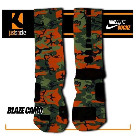 blaze camo custom nike elite socks by floccostradingpost